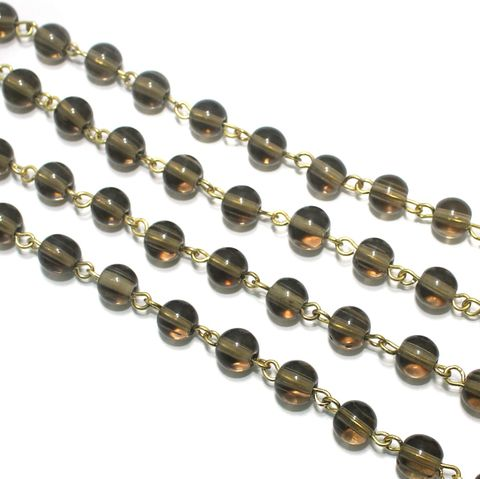 1 Mtr Designer Beaded Chain Grey 8mm