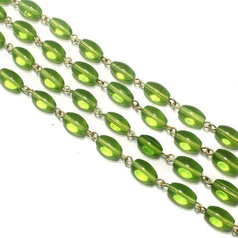 1 Mtr Designer Beaded Chain Parrot Green 12x8mm