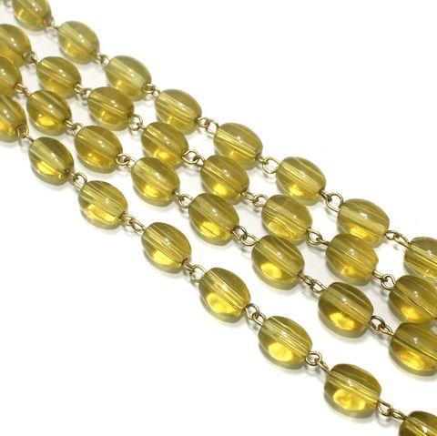 1 Mtr Designer Beaded Chain Yellow 12x10mm