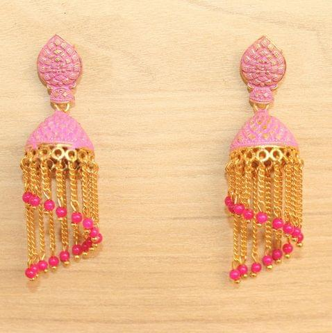 Meenakari Dangler Jhumka Earrings Pink
