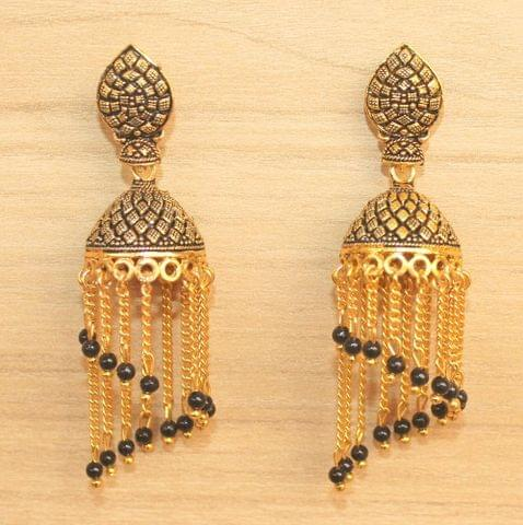 Meenakari Dangler Jhumka Earrings Black