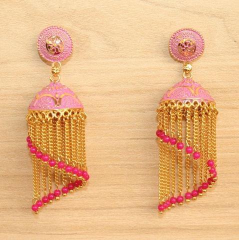 Meenakari Dangler Jhumka Earrings Pink