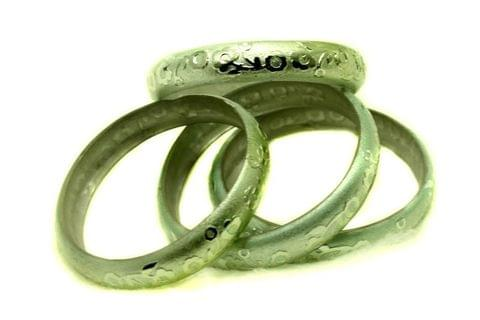 Green Glass Non Plated Bangles Kada For Women, Size 2.4