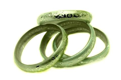 Green Glass Non Plated Bangles Kada For Women, Size 2.6