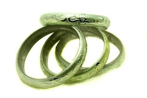 Green Glass Non Plated Bangles Kada For Women, Size 2.4