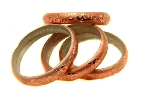 Copper Glass Non Plated Bangles Kada For Women, Size 2.6