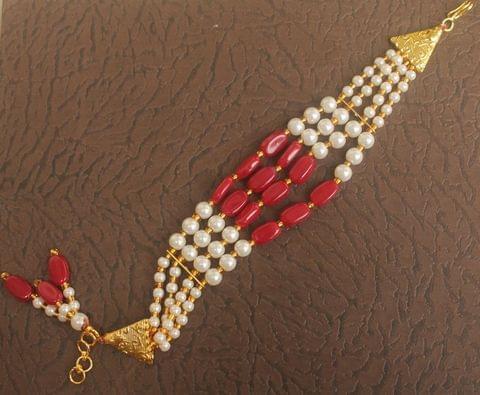 Glass Beaded Designer 4 Layer Rakhi Red