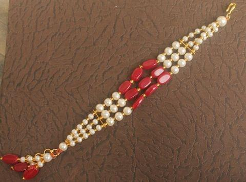 Glass Beaded Designer 3 Layer Rakhi Red