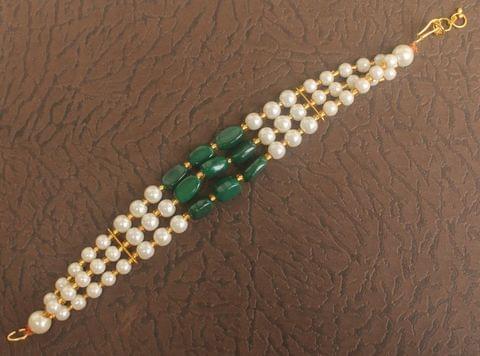 Glass Beaded Designer 3 Layer Rakhi Green