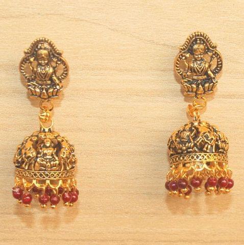 Meenakari Jhumka Earrings Maroon