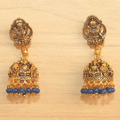 Meenakari Jhumka Earrings Blue