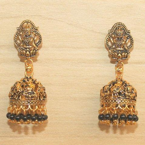 Meenakari Jhumka Earrings Black