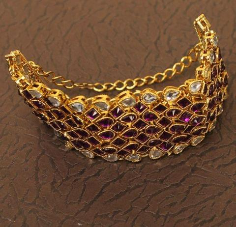 Trendy Double Side Kundan Bracelet Purple
