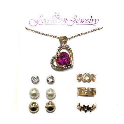 Gold Plated Austrian Stone Necklace Bracelet Studs Combo Set
