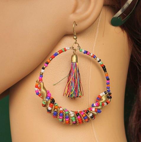 Seed Beads Tassel Earring Multicolor
