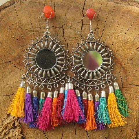 German Silver Tassel Mirror Earring Multicolor