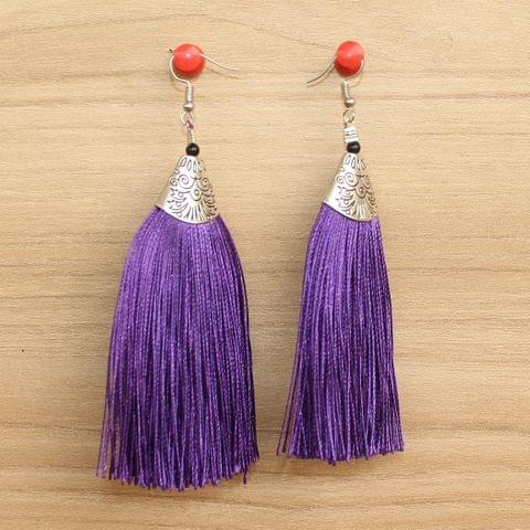 Long Tassel Earrings Purple