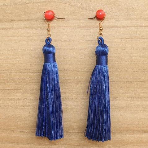Long Tassel Earrings Blue