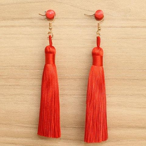 Long Tassel Earrings Red