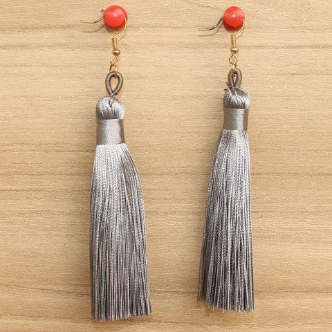 Long Tassel Earrings Grey