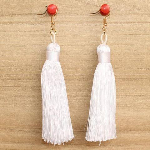 Long Tassel Earrings White