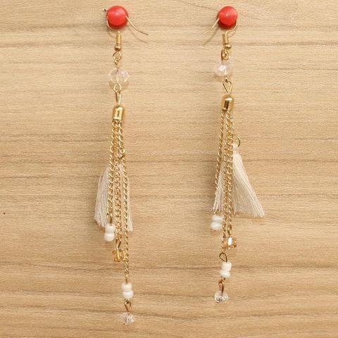 Tassel and Beaded Earrings White
