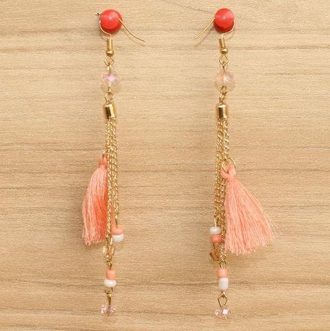 Tassel and Beaded Earrings Peach