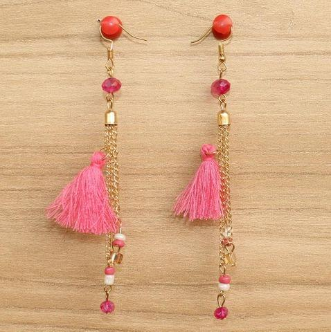Tassel and Beaded Earrings Pink