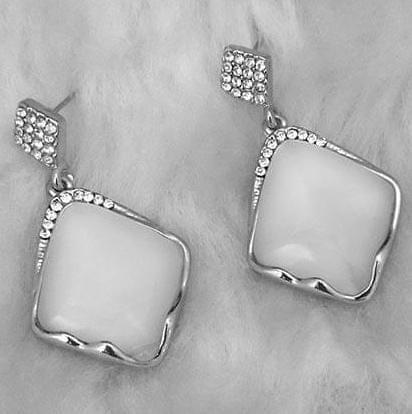Resin And Austrian Stone Gold Plated Dangler Earrings