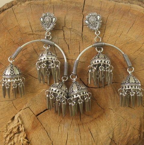 German Silver Hanging Jhumka Silver