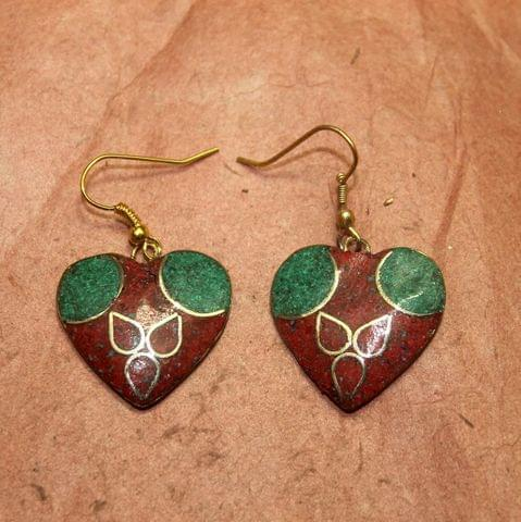 Tibetan Earring Multi Color Heart