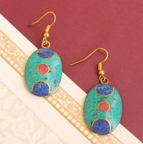 Tibetan Earring Multi Color Oval