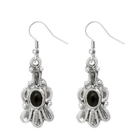 Silver Plated Black Pota Stone Dangler Earrings