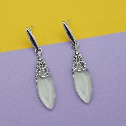 Resin Stone Silver Plated Dangler Earrings