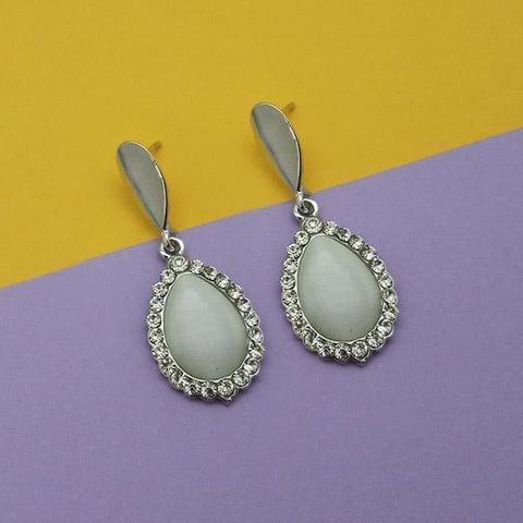 Resin And Austrian Stone Silver Plated Dangler Earrings