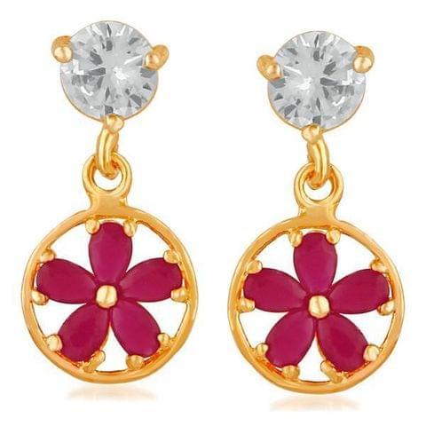 AD Stone Gold Plated Dangler Earrings -