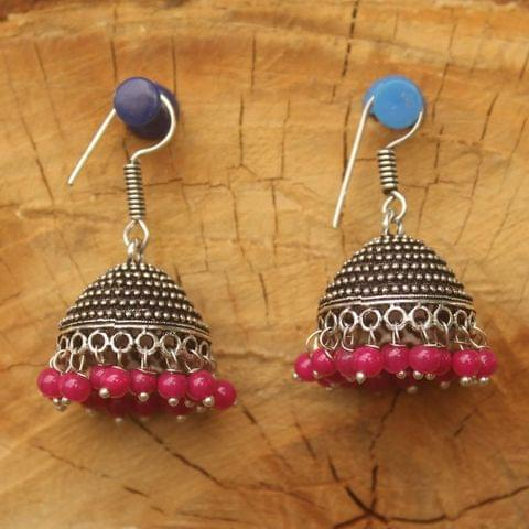 German Silver Beads Hanging Jhumki Magenta