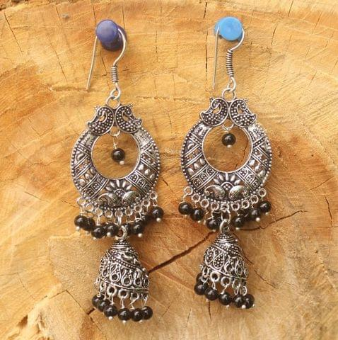 German Silver Chandibali Earring Jhumkas Black