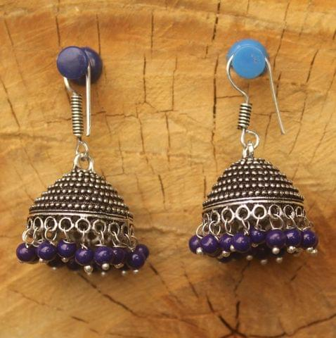 German Silver Beads Hanging Jhumki Blue