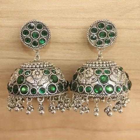 German Silver Round Big Jhumki Green