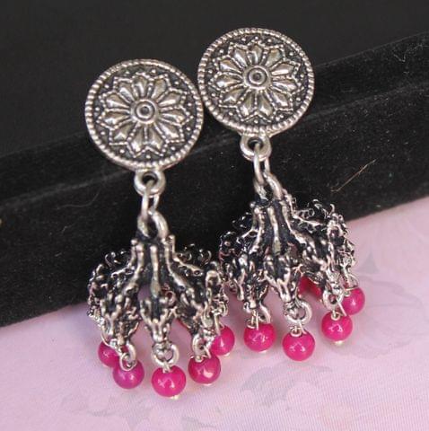 German Silver Beads Hanging Jhumki Pink