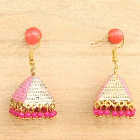 Meenakari Jhumka Earrings Pink