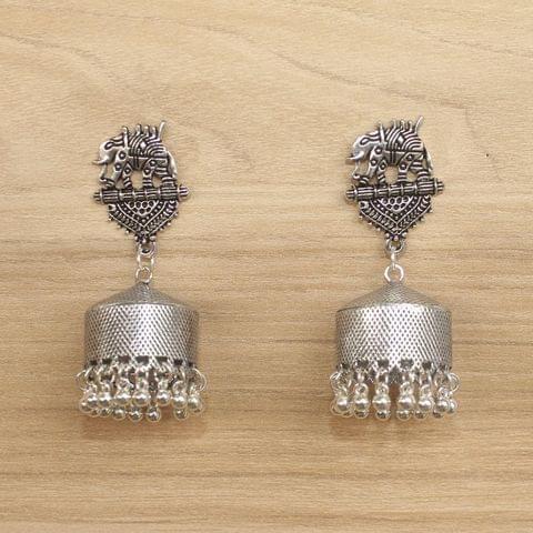 German Silver Beads Hanging Jhumki