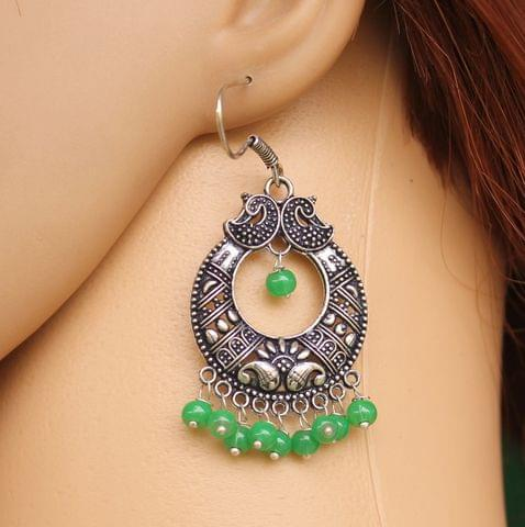 German Silver Chandibali Earring Light Green