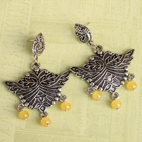 German Silver Beads Hanging Stylish Earring Yellow