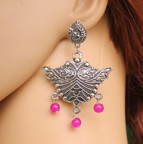 German Silver Beads Hanging Stylish Earring Pink