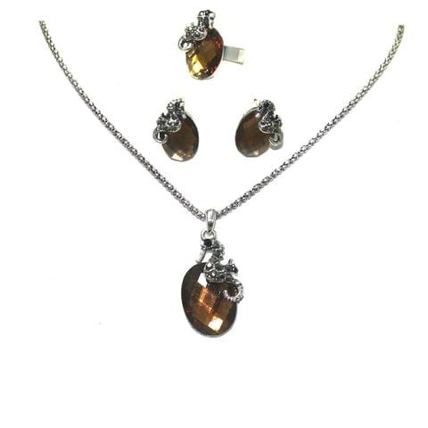 Crystal Stone Silver Plated Chain Necklace Set