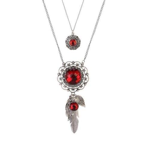 Crystal Stone Silver Plated 2 Layer Chain Necklaces