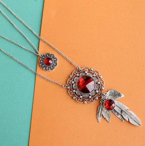 Crystal Ruby Stone 2 Layer Necklaces