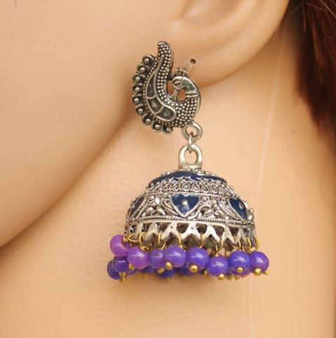 German Silver Beads Hanging Jhumka Blue